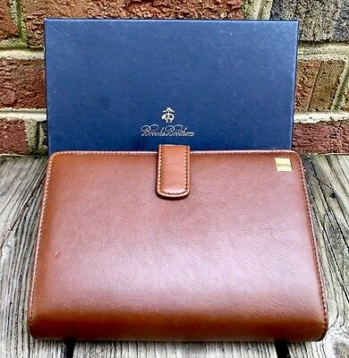 BROOKS BROTHERS Brown Italian Leather Diary Address Book Planner Organizer