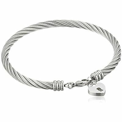 "Stainless Steel Cable Bangle w/ Heart Lock Charm Bracelet 2.75"" Ships Free NIP"
