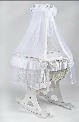 MJ Mark White Crib Moses Basket