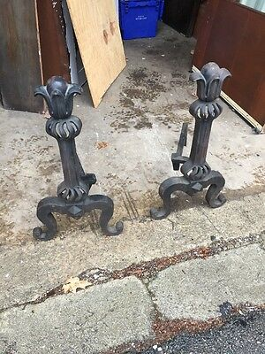 Cm 28 Art Nouveau Antique Cast-Iron Fireplace Andirons
