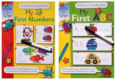 Children's My First Abc My First Numbers Write And Wipe Learning Books X Tables