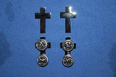 Us Ww2 & British Canadian Army Chaplain Cross Collar Badges Insignia Silvered