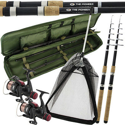 "Travel Fishing Rod And Reel Set 10Ft Rods Reels Bag Holdall Fishing 26"" Net"