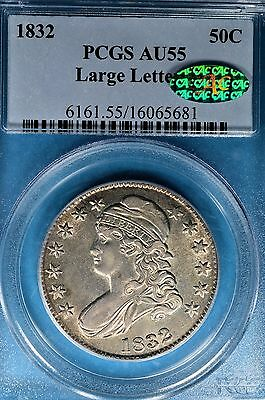 1832 Large Letters Capped Bust Half Dollar PCGS AU55- Nice Surfaces, Tone, CAC