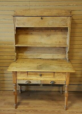 Antique Vintage Dough Table Desk Tan Brown Pine Wood EUC