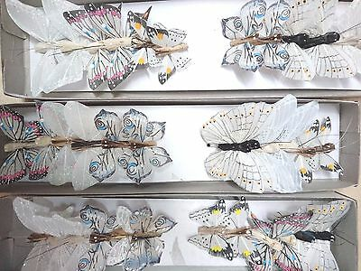 12 White / Cream Feather Butterflies, assorted designs, weddings, cakes, crafts