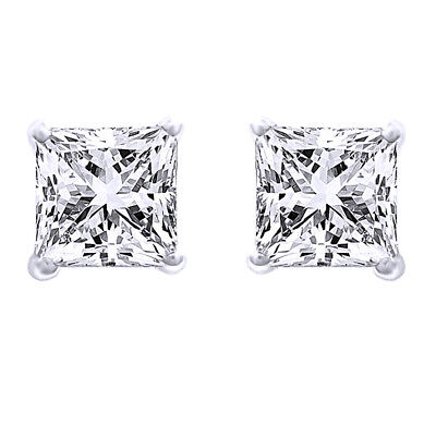 0.40 Ct Square Princess Cut Natural Diamond Solid 14K Gold Stud Earrings