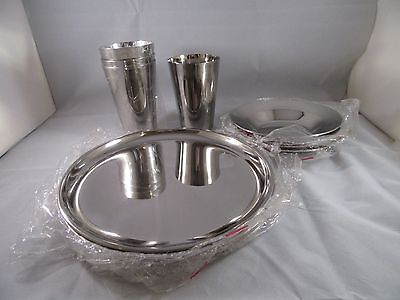 NEW 12 Pieces - Svc for 4 Stainless Steel Dish Set Child Adult Plate Bowl Cup