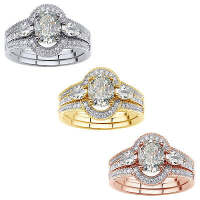 3 Piece 1.75 Carat Oval Cut Cubic Zirconia Halo Bridal Ring Set 10K Gold