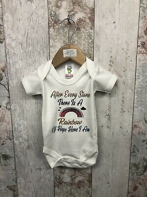 peggys after every storm rainbow hope baby boy GIRL GROW VEST BIB PERSONALISED