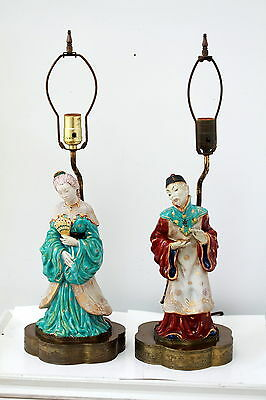 Pair of Antique Chinese Porcelain Figure Lamps Qing or Republic Era