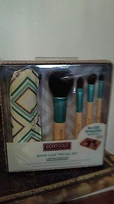 New Ecotools Boho Luxe Travel Set Limited Edition 4 Brushes Cosmetic Bag