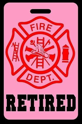 Pink RETIRED Firefighter Luggage/Gear Bag Tag - FREE Personalization - New