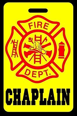 Safety Yellow CHAPLAIN Firefighter Luggage/Gear Bag Tag - FREE Personalization