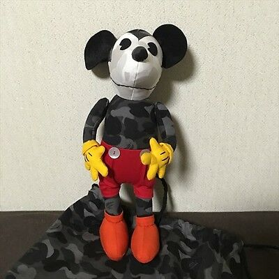 A BATHING APE x Disney Monkey Camouflage Pattern Mickey Mouse Plush WITH BAG NEW