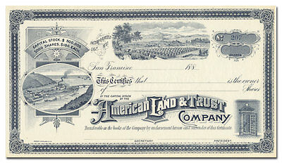 American Land and Trust Company Stock Certificate