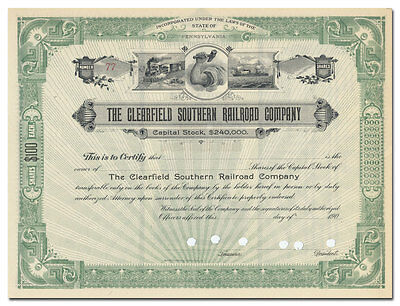 Clearfield Southern Railroad Company Stock Certificate