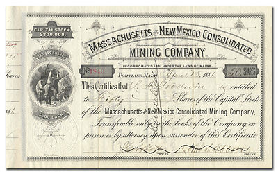Massachusetts and New Mexico Consolidated Mining Company Stock Certificate