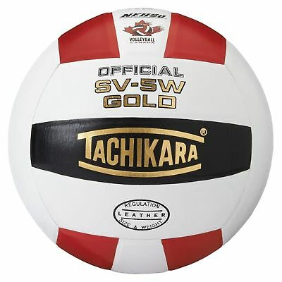 Tachikara SV5W Gold Competition Premium Leather Volleyball Scarlet/White/Black