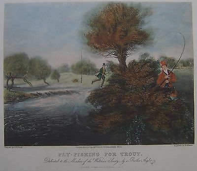 'Fly-Fishing For Trout' antique hand coloured print by R.Reeve after J.Pollard