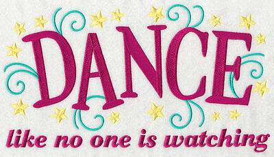 Embroidered Dance like no one watching quilt block,sewing, fabric,cushion panel,