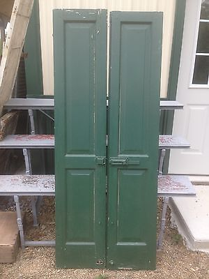 Vtg Pair 1800's Old  Wooden Window Shutters Architectural Salvage Screen 71  x14