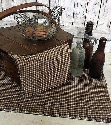 Early Antique Brown Homespun Fabric w Hand Stitched Patch 16x82 Quilt Rescue VTG