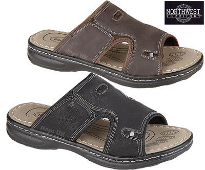 Mens New Summer Open Toe Slip On Mules Comfort Walking Flip Flop Beach Sandals