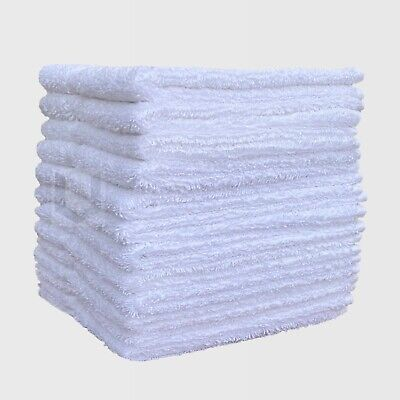 Pack Of 12 White Face Cloths Towels 100% Cotton Flannels Wash Cloths 450 Gsm