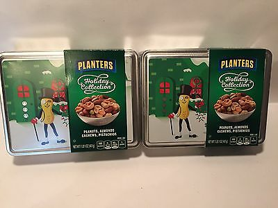 2 Limited Holiday Collection Planters Peanuts Tin Mr Peanut Logo 2016 Tin Only
