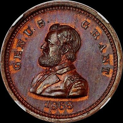 Finest & Only @ Pcgs & Ngc Ms64 1868 General U.s. Grant Dewitt-Usg 1868-37 Toned
