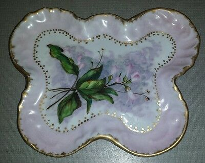 Rare 1895 East Palestine Pottery Co Butterfly Floral Dish Plate Antique Signed