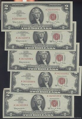 5 consecutive uncirculated 1963A $2 red seal US Notes. A16232096-100A