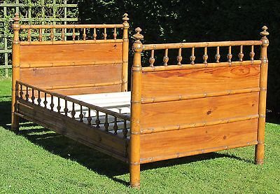 French Faux Bamboo Small Double Trundle Bed with Pine Slat Base