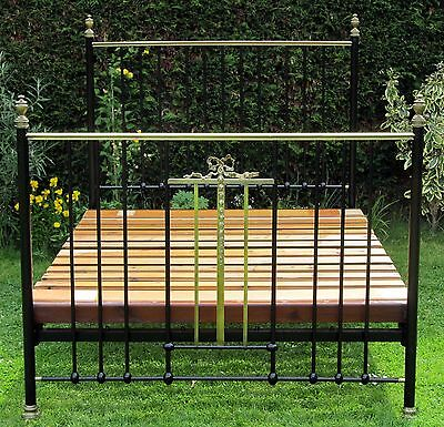 Victorian Brass and iron Standard Double Bed with Wood Base