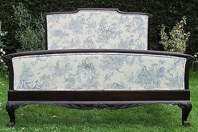Carved Wooden upholstered French Double Bed with Pine Slat Base