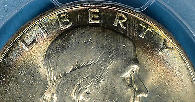 1948 Franklin Half Dollar PCGS MS65+FBL- Some Rainbow Tone, Sharp Ben