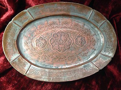 c. 19th century Antique Middle Eastern Persian Copper Plate birds, flowers, deer