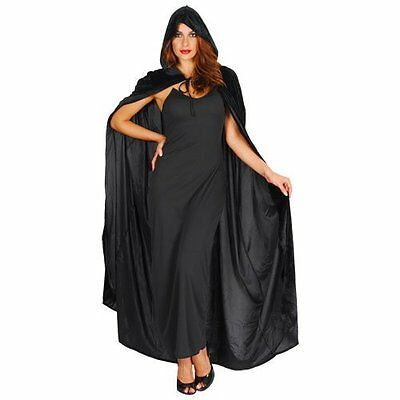 Deluxe Black Velvet Cape with Hood - Adult Accessory Lady: STANDARD