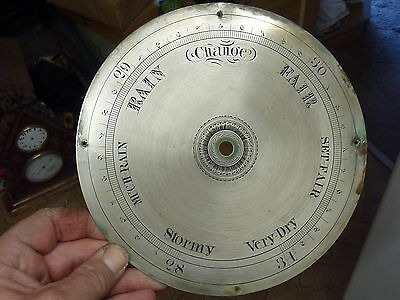 """GOOD 19th CENTURY WHEEL BAROMETER 8"""" ENGRAVED DIAL (A)"""