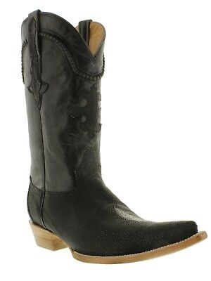 mens black real stingray skin diamond stone leather western cowboy boots pointed