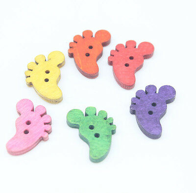 60pcs 2 Holes Mixed Foot Shape Wooden Buttons Fit Sewing and Scrapbook 22x14mm