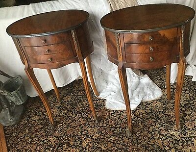 Pair French Louis XV Ormolu Style 3 Drawer End Tables Nightstands