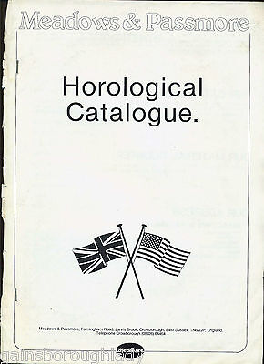 Horological Catalogue-Clock Parts-Dials - Meadows & Passmore-1982 & Price List • £4.50