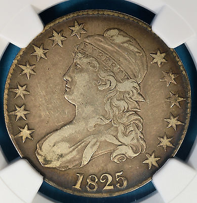 1825 Capped Bust Half Dollar NGC VF25- Very Nice Patina, Eye Appeal, PQ Obverse
