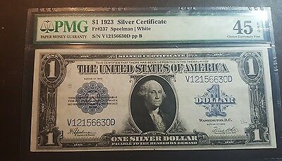 1923 $ 1 Silver Certificate Pmg Graded Large Note In Choice Extremely Fine 45
