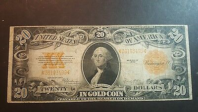 1922 $ 20 Gold Large Note Very Rare ( Payable To The Bearer On Demand In Gold )