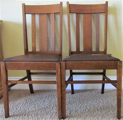 Set of 2 Vintage Solid Oak Mission Arts & Crafts Dining Kitchen Side Chairs