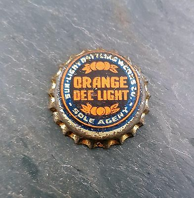 RARE Orange Dee-Light Soda Pop Cork Lined Bottle Cap Sun Light Bottling Works