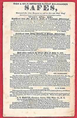 1845 Print Ad RICH & CO.'S SALAMANDER SAFES ~ AZOR S. MARVIN, AGENT ~ FIRE PROOF